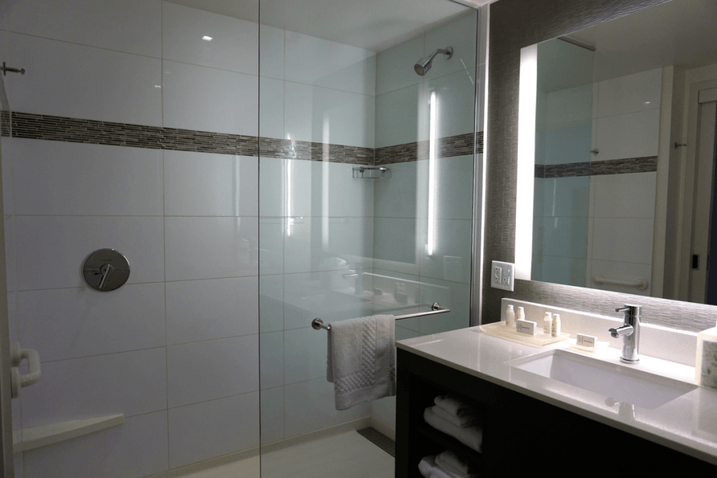 Modern bathroom in our Marriott Residence Inn Surfside room