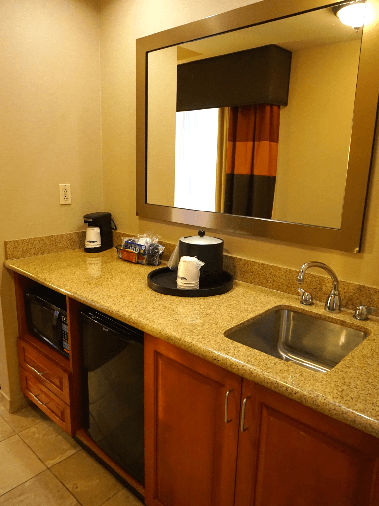 Our suite's wet bar at the Hampton Inn Pittsburgh Downtown