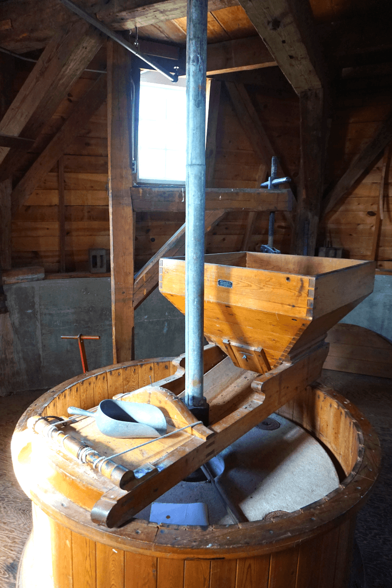 Inside the Danish windmill in Iowa is a 2,000 pound grindstone