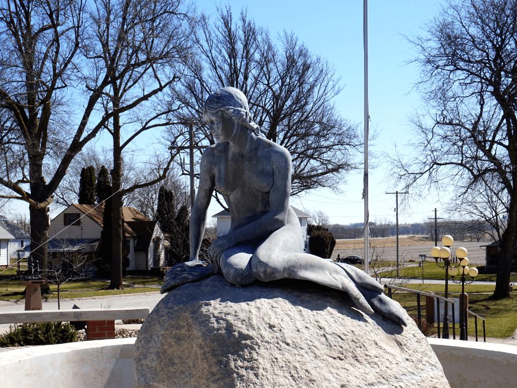 Little Mermaid statue in Kimballton, Iowa