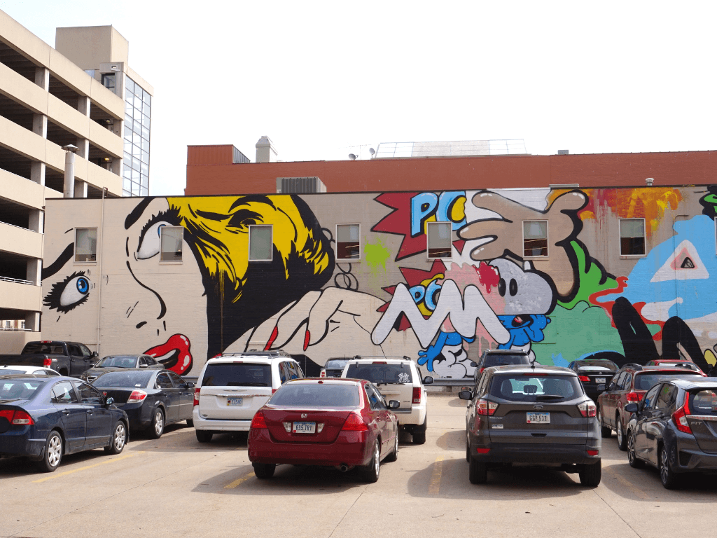 Colorful street art in Des Moines