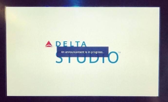"White screen with ""announcement in progress"" overlay on Delta Studio logo."