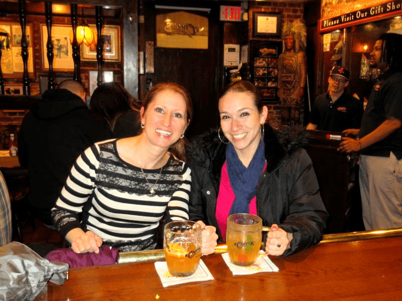 Drinks at Cheers during our one day in Boston