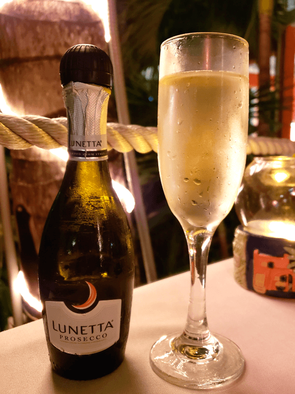 Prosecco to go with our delicious salmon at one of the best restaurants in Providenciales