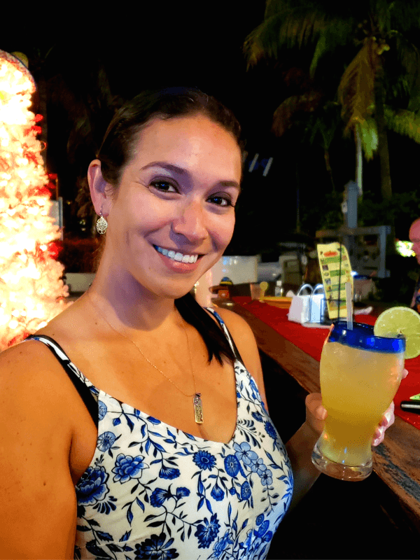 Enjoying our drink while eating free chips and salsa in Grace Bay Providenciales