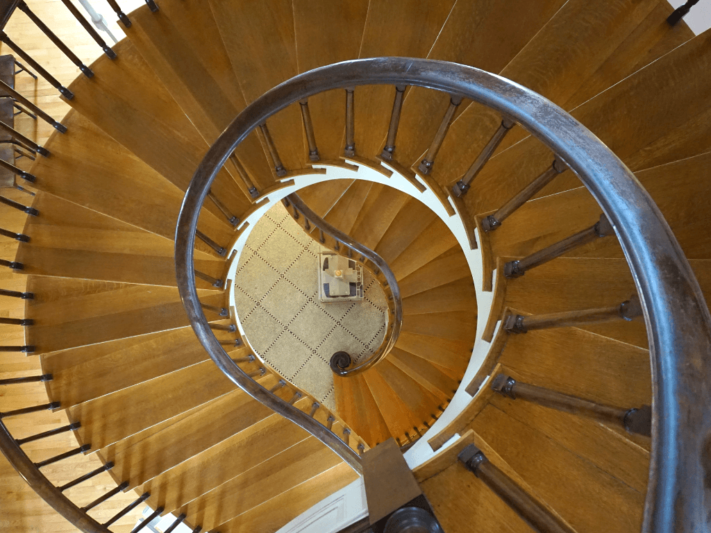 The incredible staircase inside the Old Capitol Museum in Iowa City