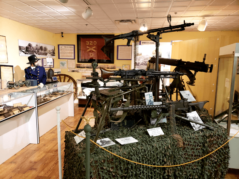 The Military Gallery has uniforms, guns, artifacts, and highlights local military members.