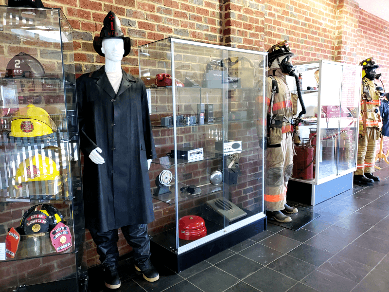 The Marietta Fire Department Museum has antique fire helmets and helmets from around the world