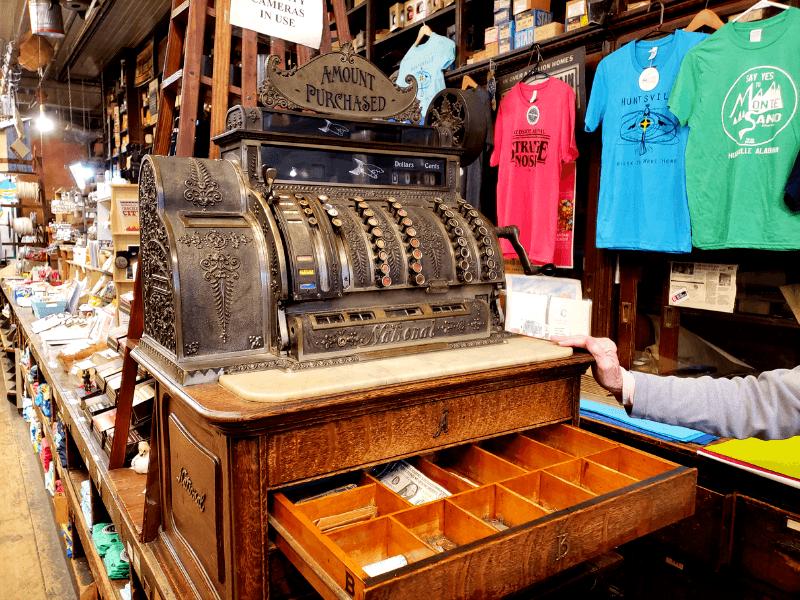 112 year old register inside Harrison Brothers Hardware in Huntsville Alabama