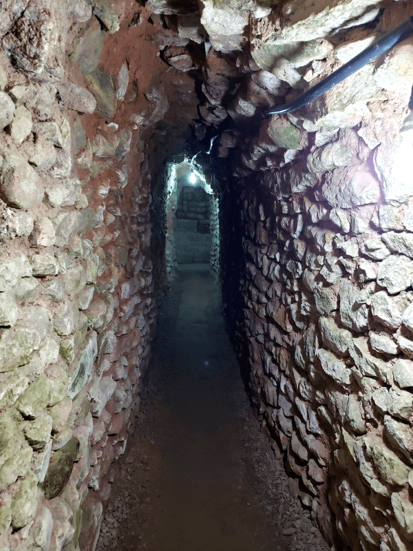 Inside one of the tunnels in Copan Ruinas