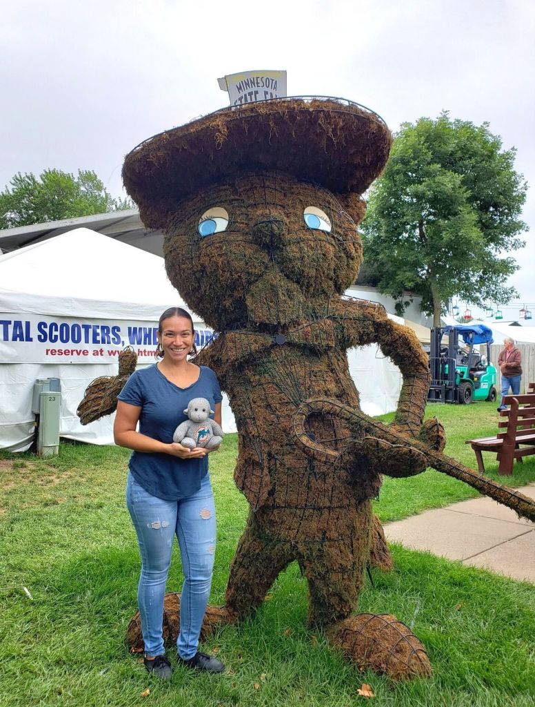 Vicky and Buddy with Fairchild, the Minnesota State Fair mascot