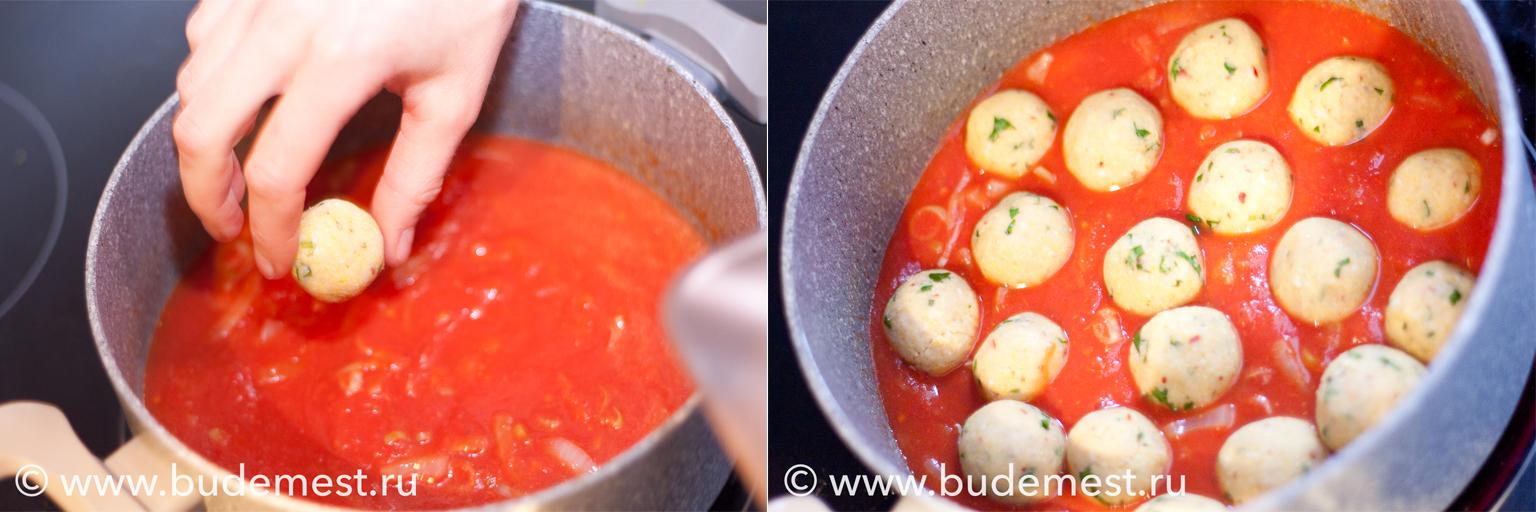 Выложите фрикадельки в кастрюлю или сковороду