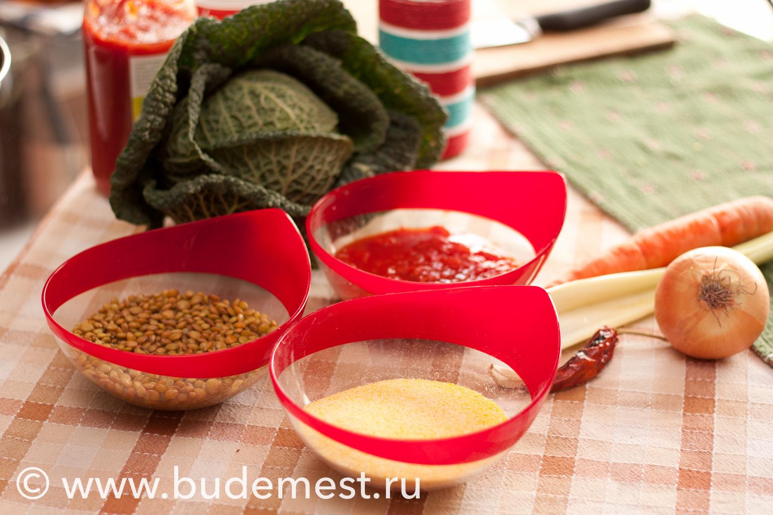 ИНгредиенты для приготовления поленты с капустой и рагу из чечевицы