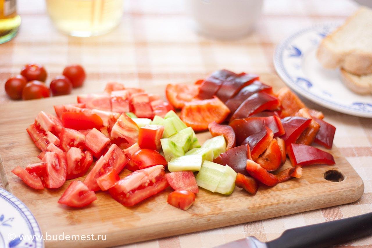 Овощи кубиками для гаспачо