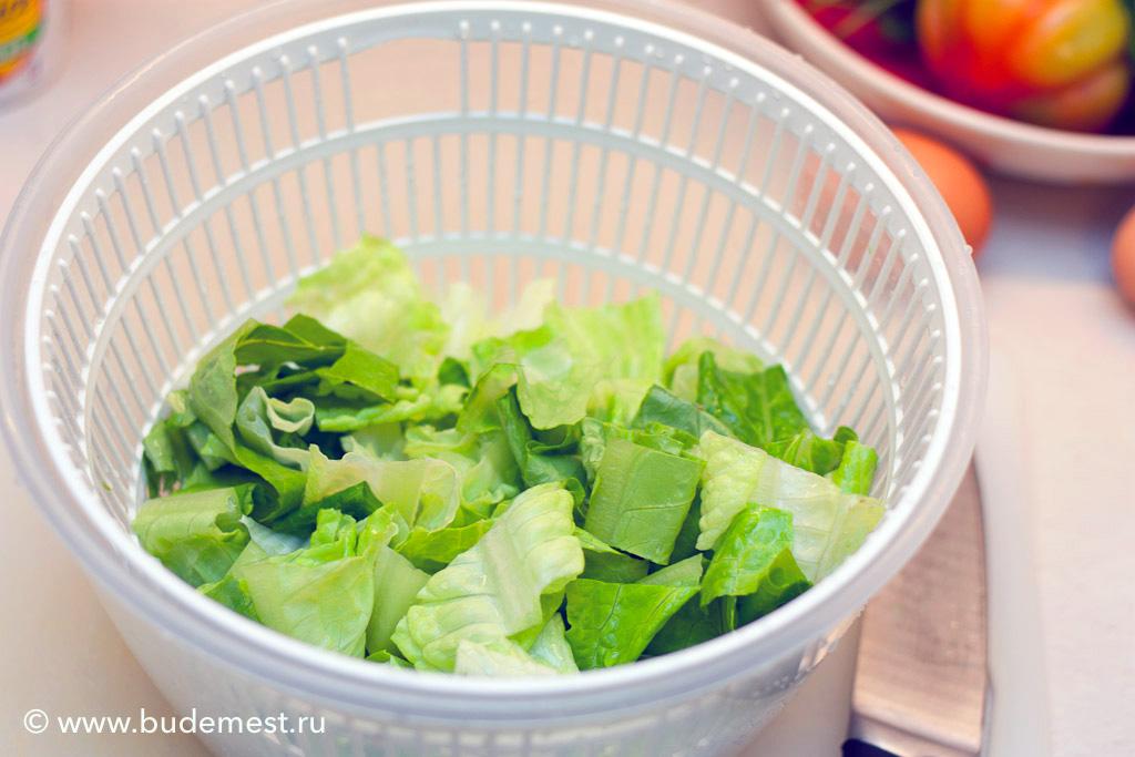 Моем, сушим и нарезаем салатные листья