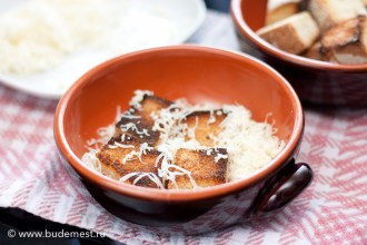 Укладываем на дно тарелки немного сухарей и тертого сыра