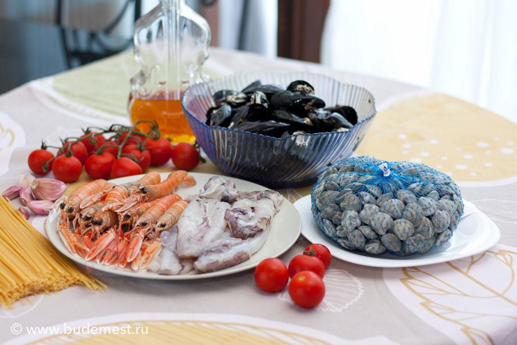 """Ингредиенты для приготовления спагетти с морепродуктами """"алло скольо"""""""