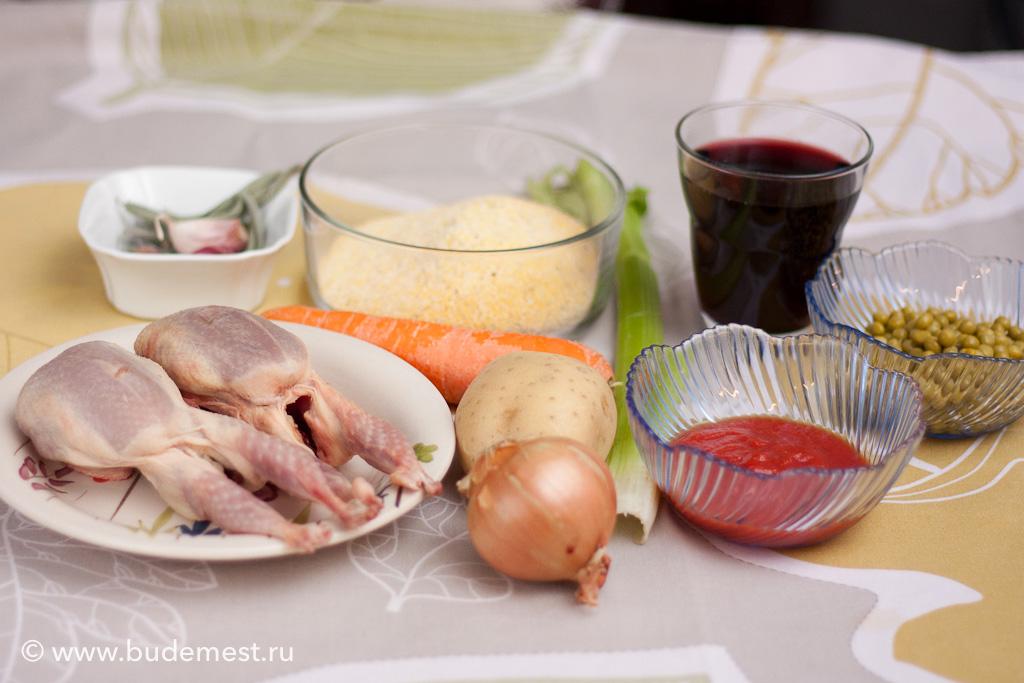 Ингредиенты для приготовления поленты с рагу из перепела