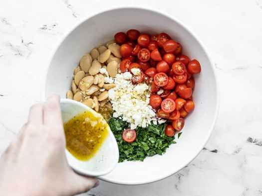 Combine salad ingredients in a bowl