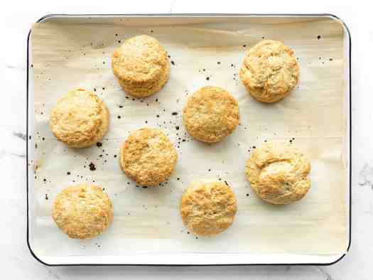 Baked biscuits on the baking sheet