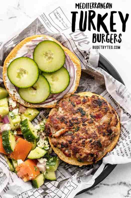 Overhead view of a mediterranean turkey burger on a paper lined plate, title text at the top