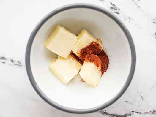Butter, chili powder, and honey in a bowl