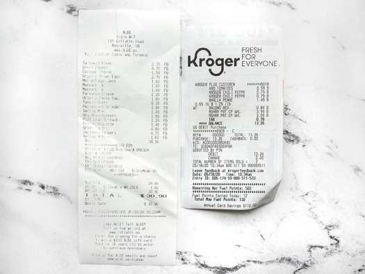 Two Grocery Receipts