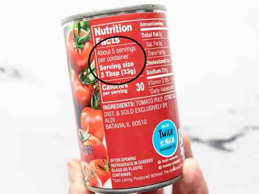 Can of tomato paste nutrition label