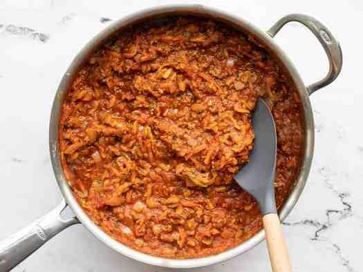 Simmered hidden vegetable pasta sauce in the skillet