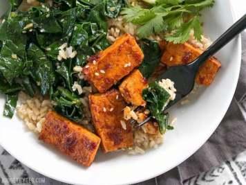 Image result for Chilli garlic tofu bowl