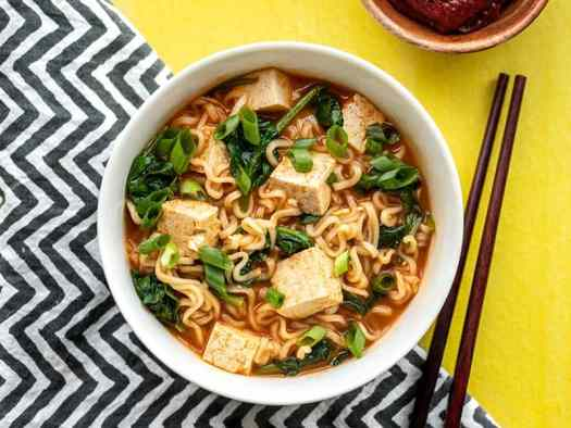 One bowl of gochujang ramen with tofu, chopsticks on the side