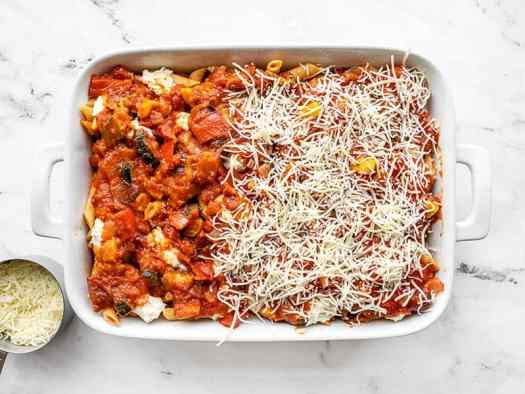 Second layers of baked penne in the casserole dish