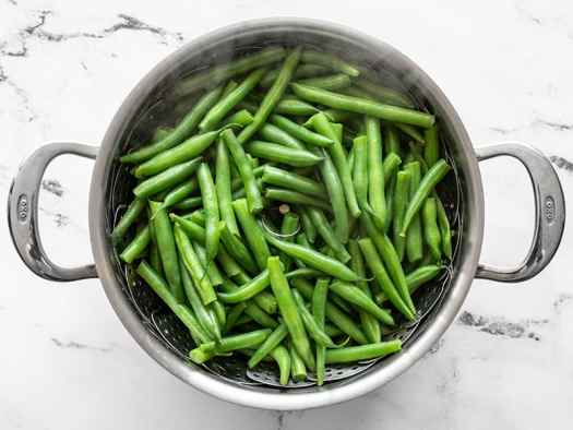 Steamed green beans in the pot