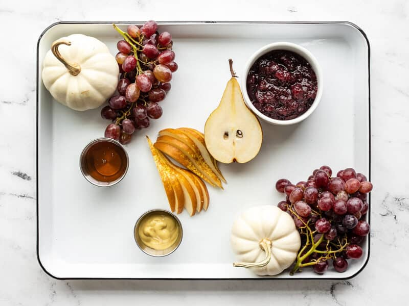 grapes and pears added to the board