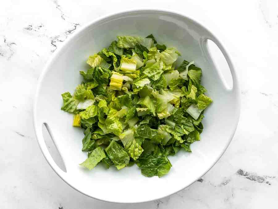 Chopped Romaine lettuce in a serving bowl