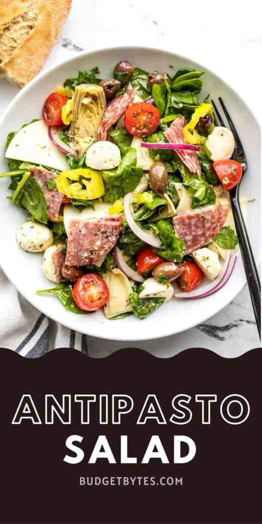 Antipasto salad in a bowl, title text at the bottom