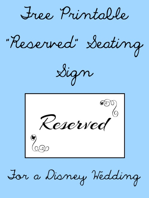 It is a graphic of Printable Reserved Signs regarding calligraphy