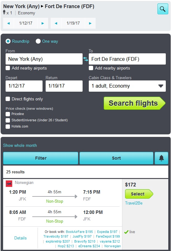 skyscanner nyc to martinique results