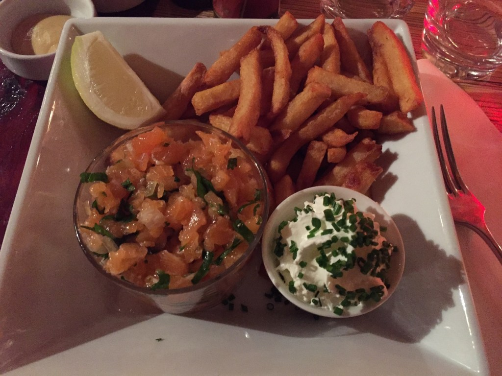 Amazing salmon tartare. The food never disappoints.