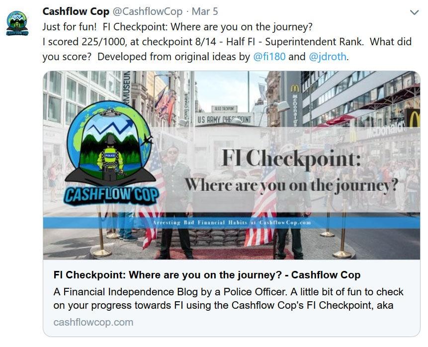 cashflow cop milestones tweet