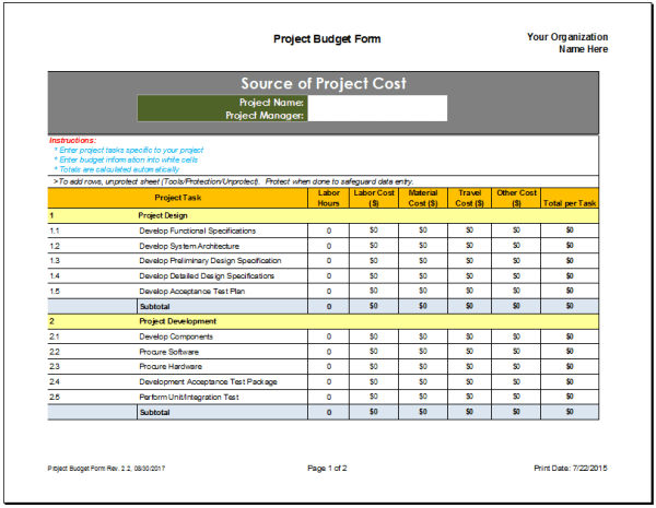 Template For Budget. home budget excel template free budget ...