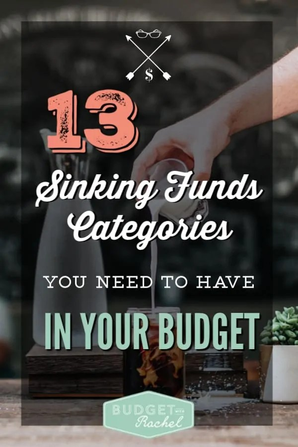 Sinking funds are a budget lifesaver to take away the stress of expenses you forgot to plan for | 13 top sinking funds categories to get you started | budgeting for beginners sinking funds categories | debt payoff using sinking funds categories | become debt free by budgeting and using sinking funds | common sinking funds categories #budgeting #budgettips #debtfree #debtpayoff #moneymanagement #daveramsey