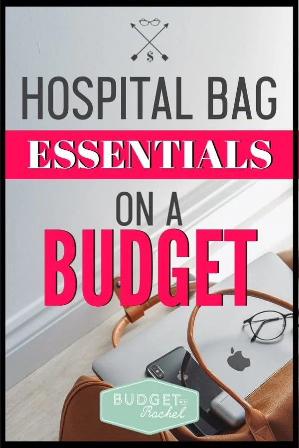 Having a baby is so expensive! I didn't want to spend even more money on my hospital bag too. This packing list is awesome! It is a hospital bag for mom, dad and baby for only $25. This is the ultimate budget-friendly baby packing list. If you are trying to have a baby on a budget, you need this list! #baby #budget #savemoney