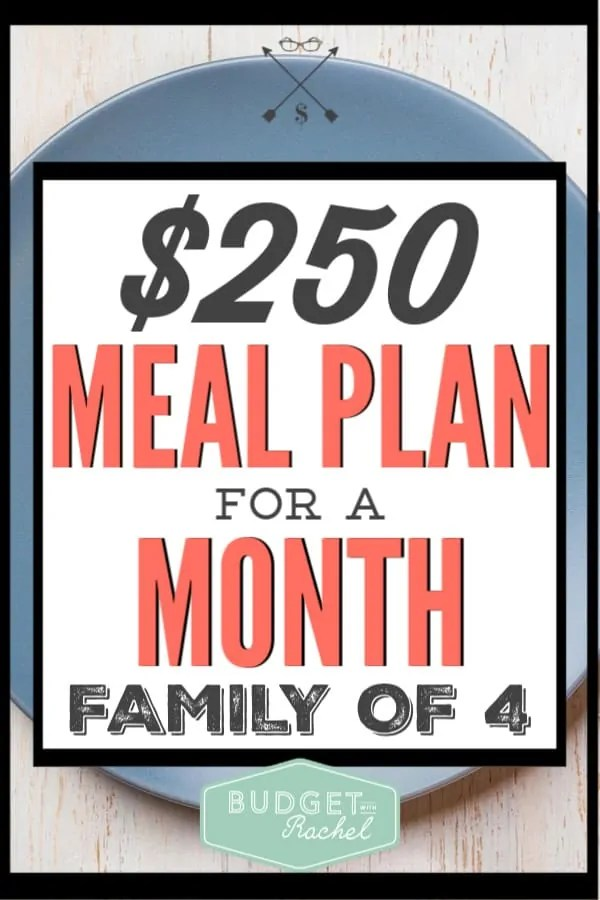 Want to save money feeding your family? Here is how I feed a family of four for $250/month. You can easily do this too! This simple meal plan and grocery budgeting tips will help you save some serious money on groceries every month. #savemoney #moneysavingtips #budgettips