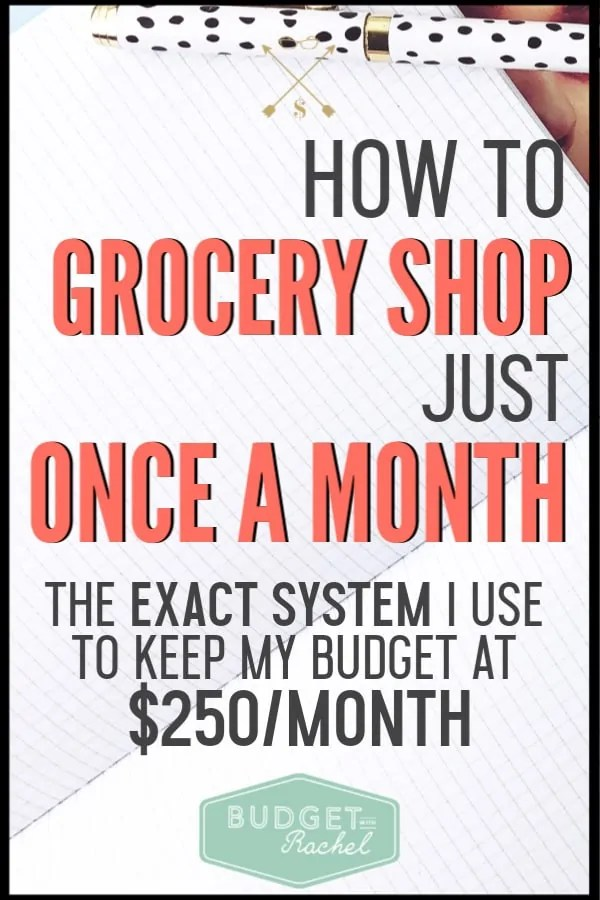 Ready to try to grocery shop just once this month and cut your grocery budget in half? This is the exact system I have used to cut my grocery budget from $700 to $250/month for a family of 4. This system has been a game changer for my life. #grocery #savemoney #moneysavingtips #freeprintables