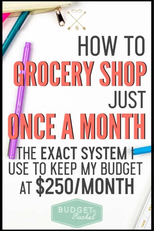 If you are spending way too much money on groceries, you need to be shopping once a month. Not sure how to do that? Follow these simple steps to accomplish all of your grocery shopping in one trip to the store! This is one of the best ways to save money. #savemoney #moneysavingtips #budgettips