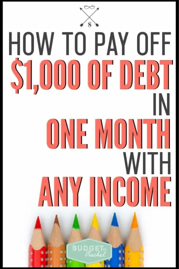 Worried you can't pay off debt because you don't make enough? Stop worrying and jumpstart your debt payoff with $1,000 in the first month! Follow these steps to easily start paying off your debt. #debtpayoff #debtfree #financetips
