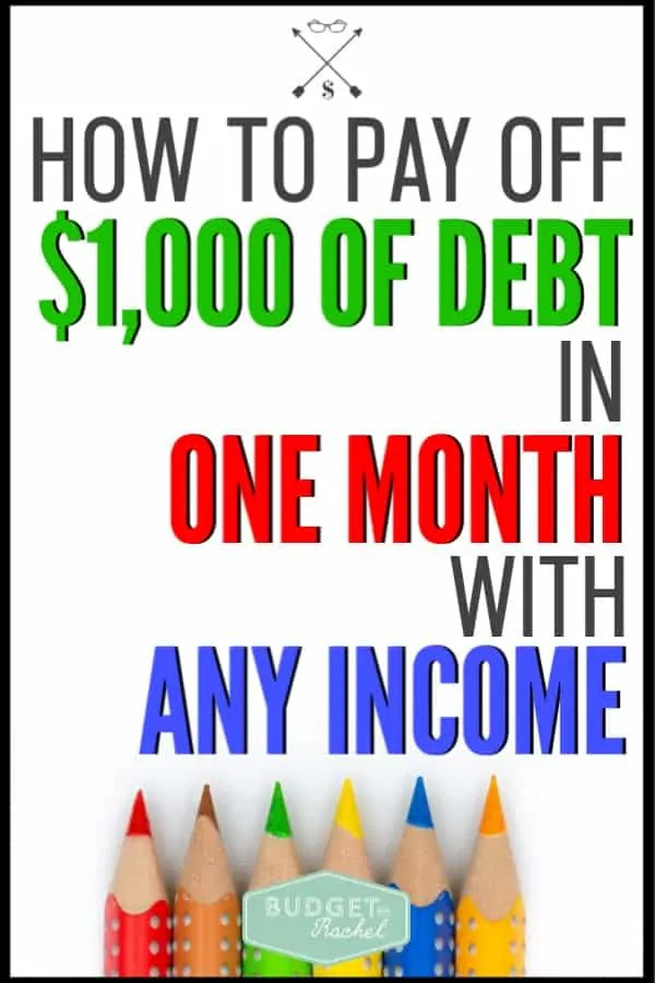How to jump start your debt payoff regardless of your income. Learn how to pay off $1,000 in one month regardless of your income. No excuses! Just results and starting your debt payoff. #debtpayoff #debtfree #financetips