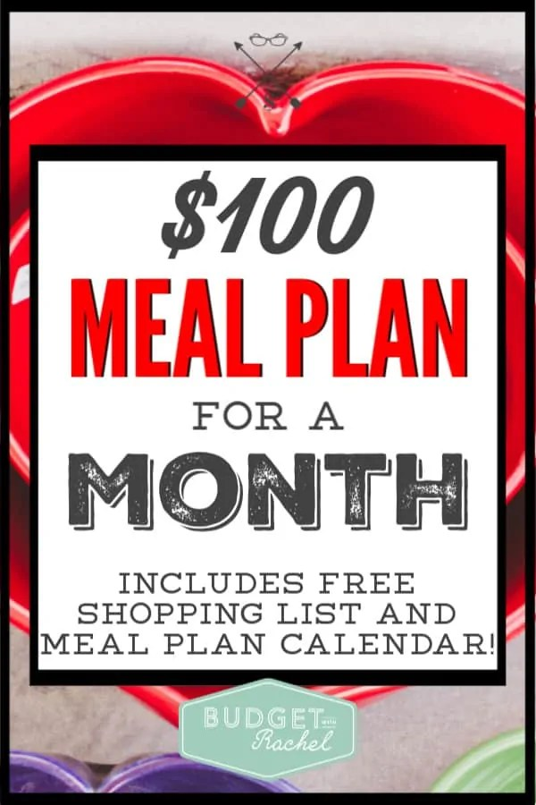 This monthly meal plan is amazing! I didn't even know where to start with meal planning. This $100 meal plan is super simple and easy to implement. If you are looking for cheap meal ideas to lower your food budget, this is it! So glad I found this meal plan!!