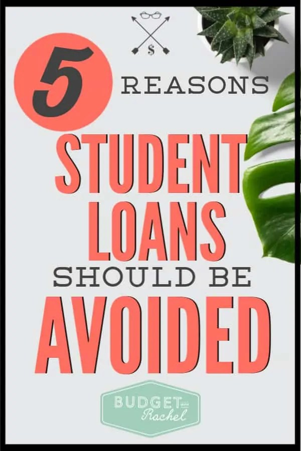 If you are thinking about student loans, you need to know why you should stay away from them. Student loans are not good debt. Here is 5 reasons why they are not going to help you! Find out if you should be avoiding student loan debt. #studentloan #debt #moneysavingtips